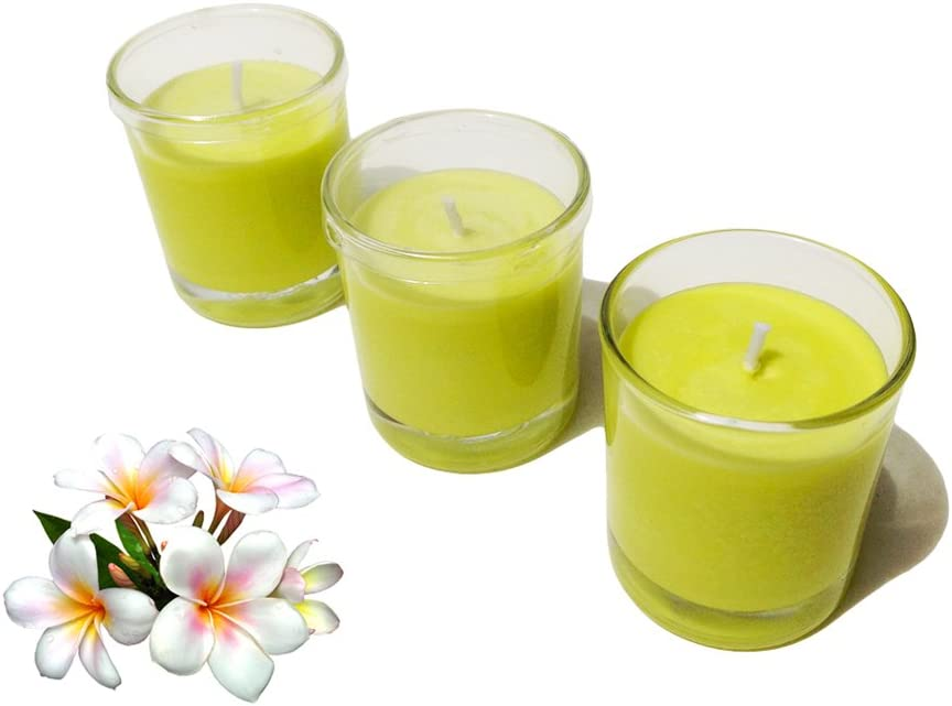 Summer Scents Soy Wax Candle in Votive Size Glass with Lid Frangipani Fragrance Pack of 3 Collumino/®