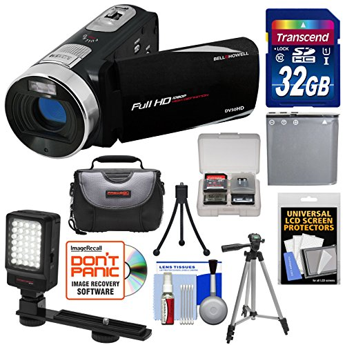 Bell & Howell Fun Flix DV50HD 1080p HD Video Camera Camcorder (Black) with 32GB Card + Battery + Case + Tripods + LED Video Light + Kit (Howell Dnv16hdz Bell)