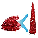 red christmas tree Joy-Leo 5 Foot Red Pop-up Collapsible Tinsel Pencil Indoor Christmas Tree with Shiny Sequins for Fireplace & Party & Office & Classroom Decor, Beach Folding Artificial Xmas Trees for Home Decoration