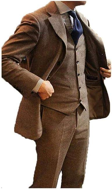 Men/'s Brown Tweed Herringbone Check Tan Tuxedos Groom Slim Fit Suit Custom Made