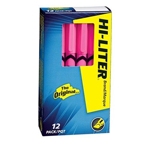 HI-LITER Pen Style, Chisel Tip, Fluorescent Pink Ink, 12/Pack (23592) by - Hi Dennison Liter Fluorescent Avery