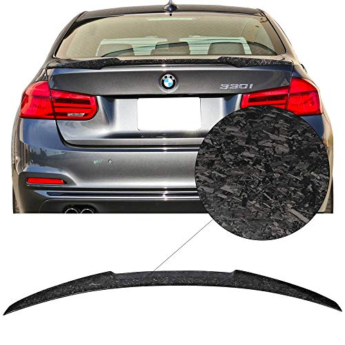 (Trunk Spoiler Fits 2012-2018 BMW 3 Series F30 F80 | M4 Style Forged Carbon Fiber Rear Wing Lip Tail Roof Trim Deck Lid Add On By IKON MOTORSPORTS | 2013 2014 2015 2016 2017)