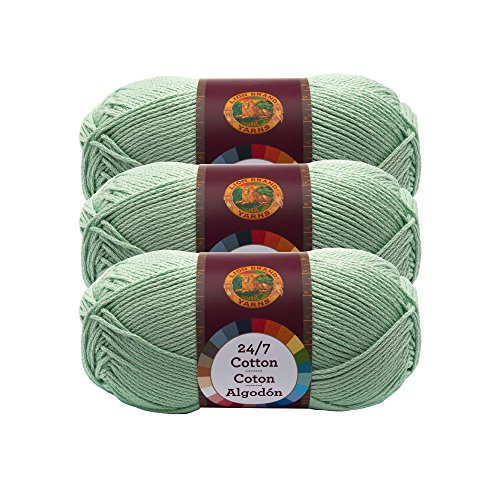 ((3 Pack) Lion Brand Yarn 761-156 24-7 Cotton Yarn, Mint)