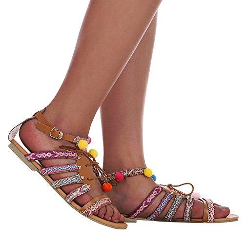 Fille Toe Sandales Femme Boho Plat D'été Peep Lacet Minetom Pantoufles Pompons Chaussures Multicolore Motif Antidérapant Multicolor Plage Style À 5vdq0wP