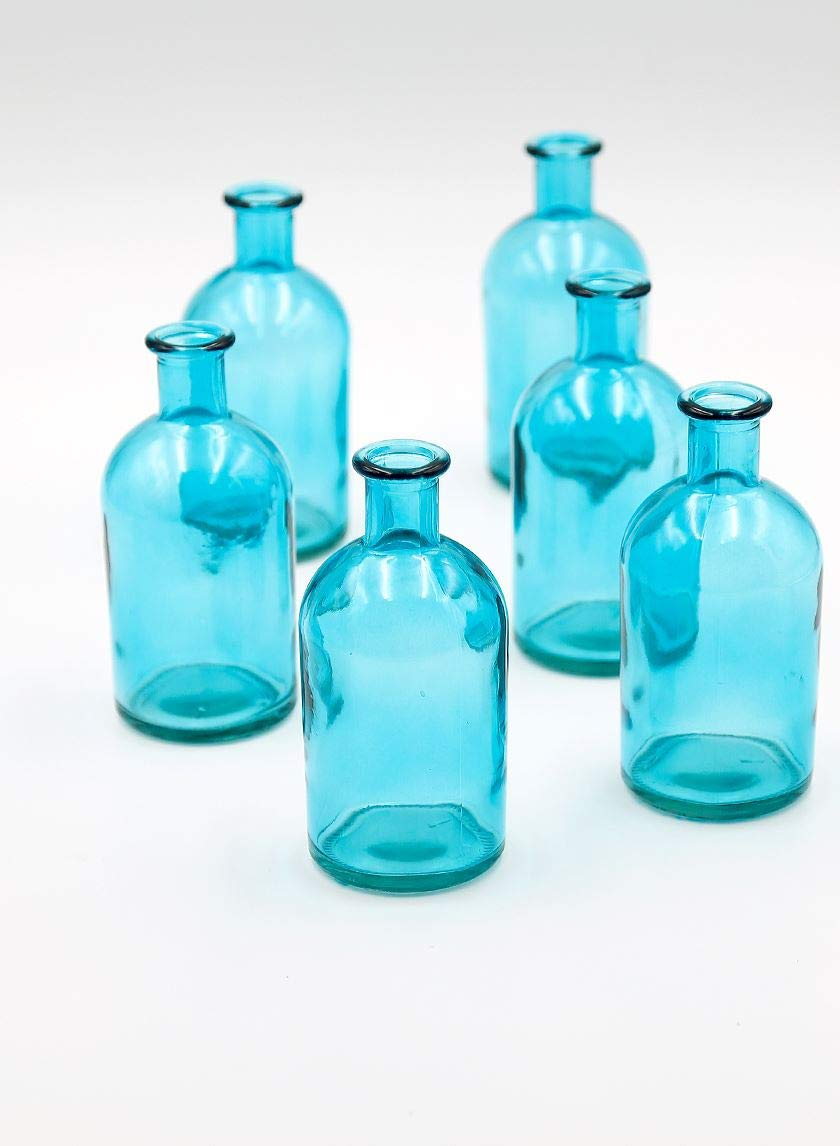 "Serene Spaces Living Blue Medicine Bottle Bud Vases, Set of 6 - Antique Vases Provide Vintage Style Anywhere, 5.25"" Tall"