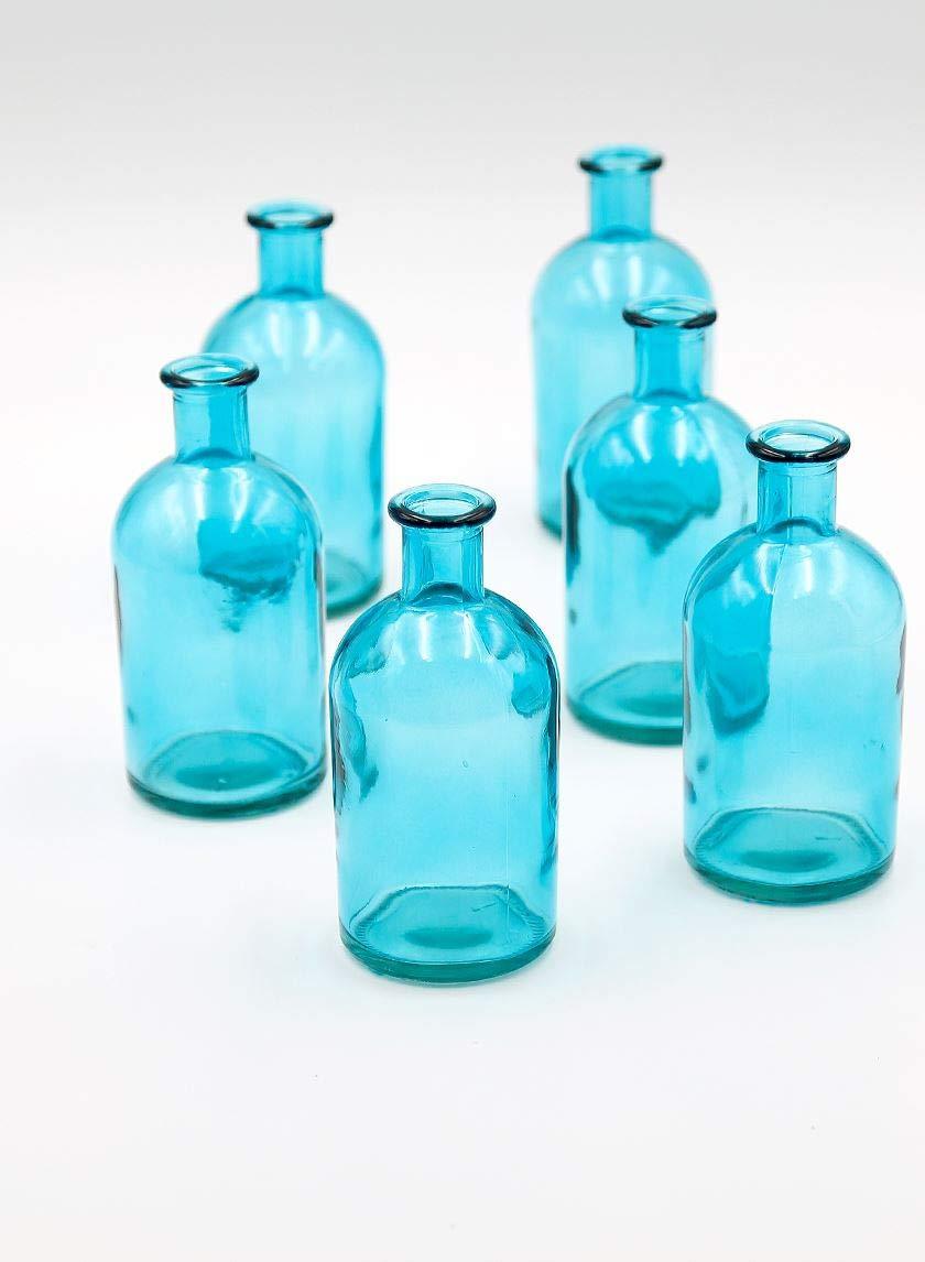 "Serene Spaces Living Blue Medicine Bottle Bud Vases, Set of 6 - Antique Vases Provide Vintage Style Anywhere, 5.25"" Tall"