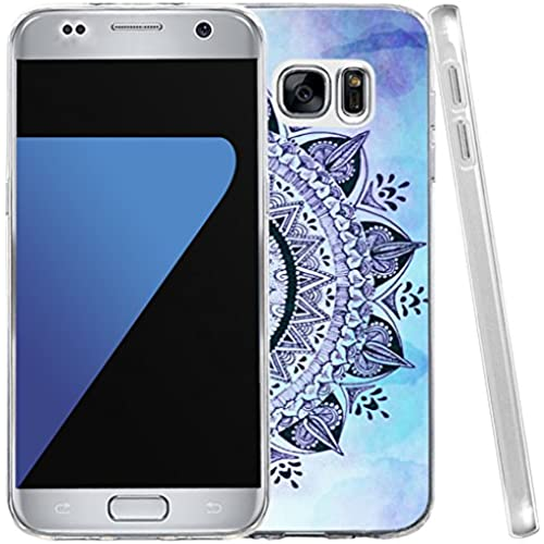 S7 Case, Hungo Samsung Galaxy S7 Cover Soft Tpu Silicone Protective Blue Wonderful Floral Flower Art Print Sales