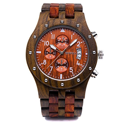 Bewell W109D Men's Sub-Dial Chronograph Date Quartz Wooden Watches (African and Red Sandalwood)