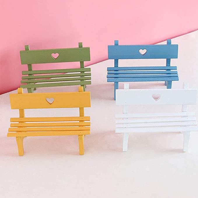 1 Dollhouse Furniture Mini White Wooden Chair Desktop Micro Landscape Decor