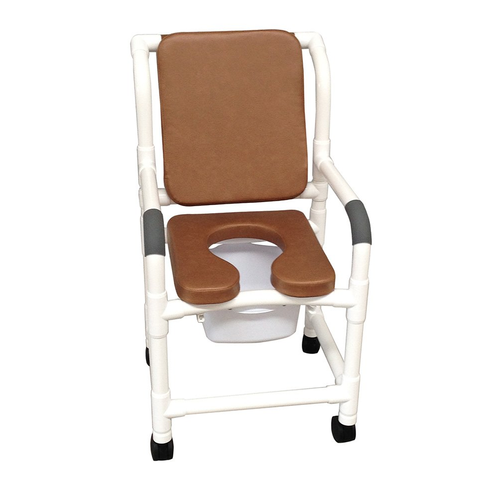 MJM International 118-3TW-SSDE-CBP-SQ-PAIL-BRN Standard Shower Chair with Soft Seat, Cushion Padded Back and Commode Pail, 300 oz Capacity, 40.5'' Height x 22'' Width x 25.25'' Depth, Brown