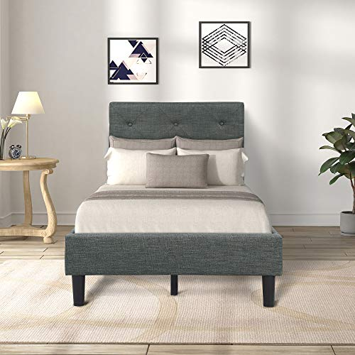 Harper&Bright Designs Upholstered Diamond Stitched Platform Bed (Twin, Gray) (Bed Frame Twin Fabric)