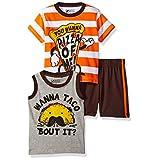 Nannette Baby Boys' 3 Piece Tank and Tee Short Set, Orange, 24M