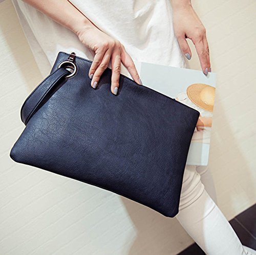 Womens blue Leather Wristlet juqilu Envelope Oversized Bag Pu Vintage Handbag Clutch Purses Fashion Evening Clutch dRAw6wq