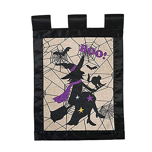Halloween Garden Flag - Witch on Broom, Black Cat, Bats, Spider Web - Burlap with Black Trim - 12 x 18 inches - Double Sided ()