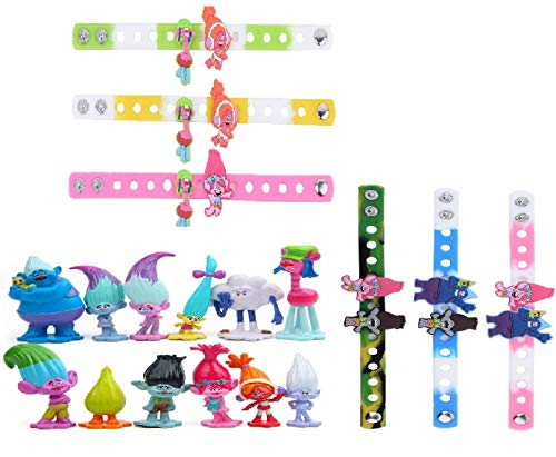 (12pcs Trolls Toys Poppy Troll Doll Mini Figures Cake Toppers and 6 Bracelets for Kids Party Favor)