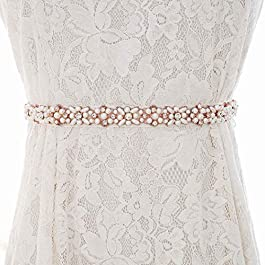 Brishow Women's Thin Wedding Belt Silver Rhinestone Appliques Bridal Sash Pearl Dress Belts Accessories for Bride