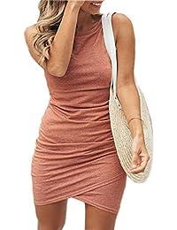 Womens Short Sleeve Sheath Dress Solid Color Irregular Hem Summer Bodycon Mini Dress