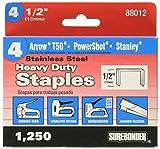 Surebonder 880125A Stainless Steel Heavy Duty 1/2'' Arrow T50 Type Staple