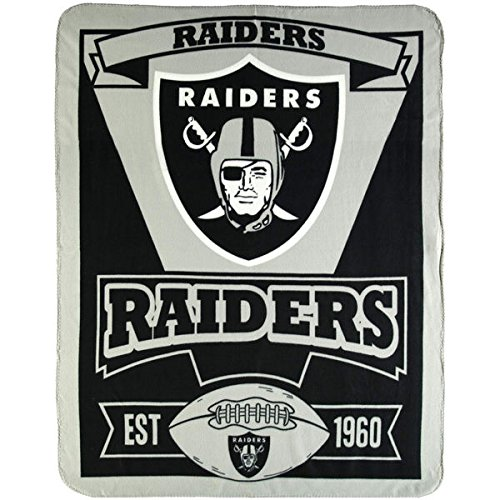 NFL Oakland Raiders Marque Printed Fleece Throw, 50-inch by 60-inch Raiders Bed Comforter