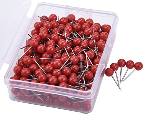 Push Pins, 1/5-Inch Round Head, 1/2-Inch Shank, 300PCS(Red) ()