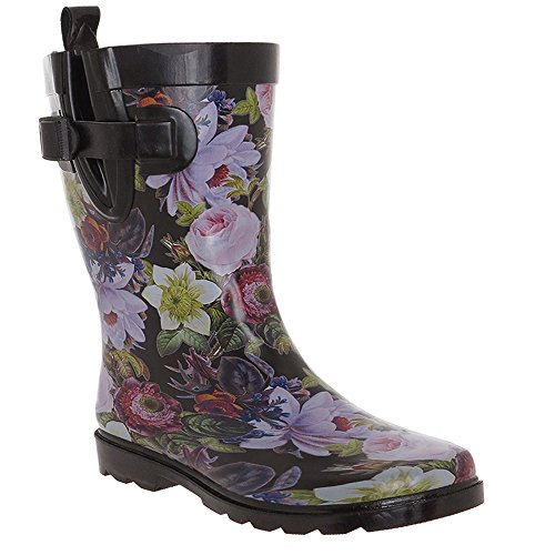 Capelli New York Floral Drop Printed Ladies Short Rubber Rain Boot Black Combo 8