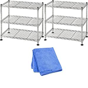 """Muscle Rack WS181018-C Steel Adjustable Wire Shelving, 3 Shelves, Chrome, 18"""" Height, 18"""" width, 264 lb. Load Capacity, 2-Pack with Dust Cloth"""