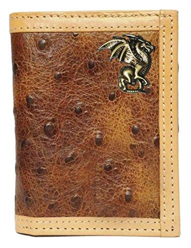 Custom Gold Dragon Ostrich Print trifold wallet ()
