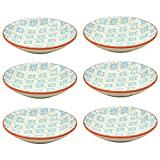 Small Patterned Rice / Soy Sauce / Olive Oil / Dipping Dish - 101mm - Blue / Orange - Box of 6