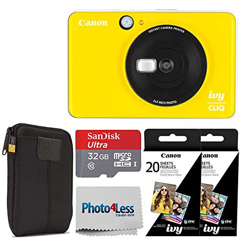 Canon Ivy CLIQ Instant Camera Printer (Bumblebee Yellow) + Canon 2 x 3 Zink Photo Paper Pack (40 Sheets) + SanDisk Ultra 32GB microSDHC Memory Card + Photo4Less Cleaning Cloth – Full Accessory Bundle