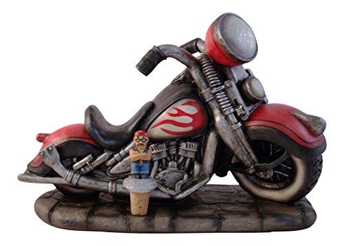 Direct Connection Co. Motorcycle Hog Cycle Wine Bottle Holder with Bottle Topper