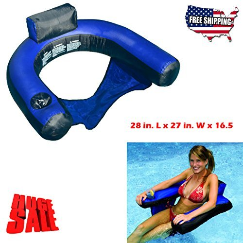 Floating Pool Chairs And Lounges With Backrest Cup Holder Inflatable Seat.Fabric Covered U-Shape Attractive Portable Ergonomic comfort Durable.This Blue Lounger Is Perfect choice In Summer Pool Fun!