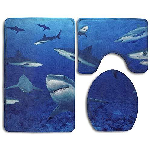 BeautyToiletLidQT12 Shark Swim Blue Ocean Fashion Bathroom Rug Mats Set 3 Piece Anti-Skid Pads Bath Mat + Contour + Toilet Lid -