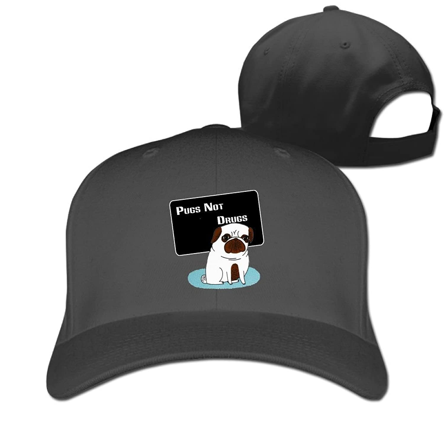 WHa12 Cap Pugs Not Drugs Men's Cool Sandwich Baseball Cap