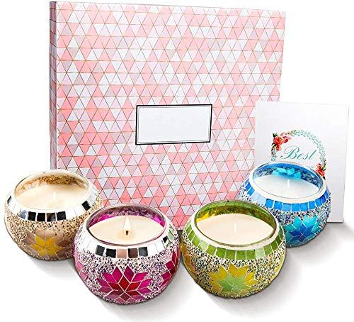 HOONOUIT Set de Regalo de Velas Perfumadas, Mosaico Handmade ...