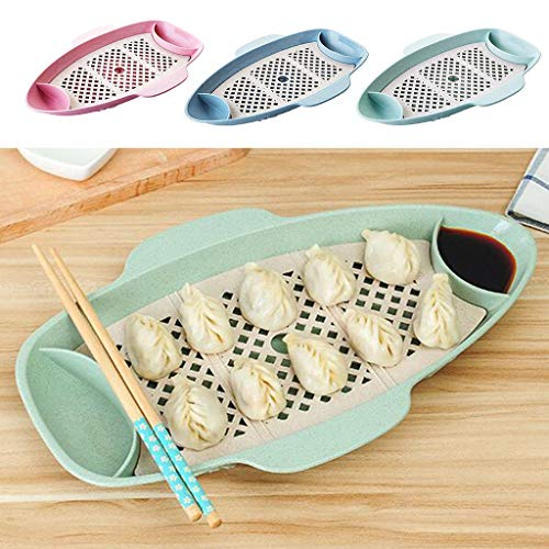 (Bazzano 3pcs Wheat Straw Double Layer Sushi Drain Plate Sauce Serving Dish)