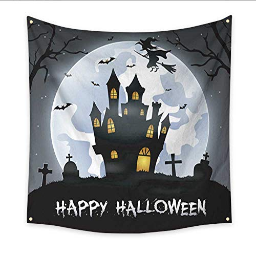 Anniutwo Tapestry Art Halloween Background with Cemetery Bats and Castle Large tablecloths Wall Tapestry 70W x 70L Inch -