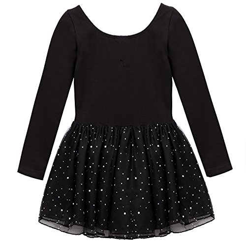 Arshiner Girls' Classic Long Sleeve Sequins Tutu Dress Leotard,Black,Size (Girls Black Sequin)