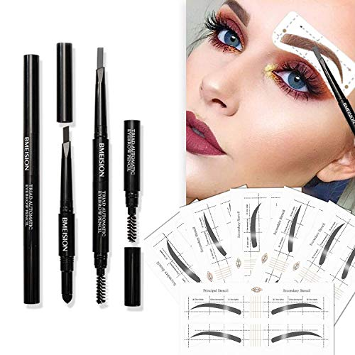 Eyebrow Stencils SET with 36 Pairs Eyebrows Shape Stickers Reusable for Women Also 3in1 Black Eyebrow Pencil that includes Powder amp Brush Easy Eyebrow Grooming amp Styling