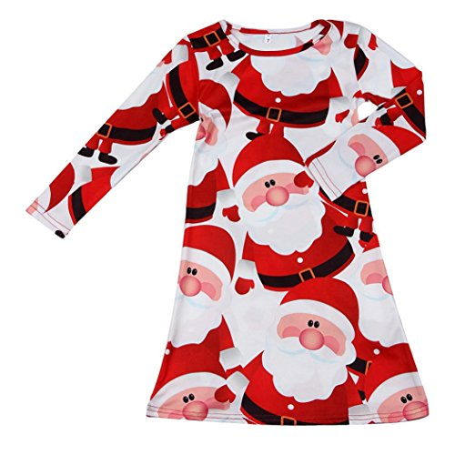 Sagton Kids Baby Girls Red Santa Claus Xmas Long Sleeve Swing Party Dress (Ballerina Swing)