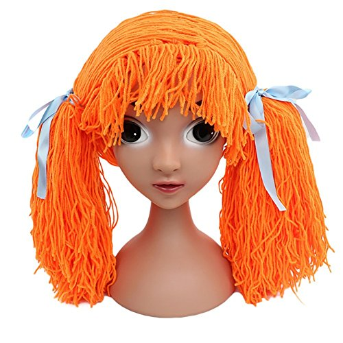 Funbase Baby Kids Knit Braid Fake Hair Hat Wig Headwear for Halloween Costume Orange