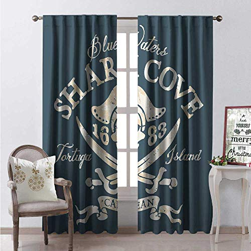 Hengshu Pirate Thermal Insulating Blackout Curtain Shark Cove Tortuga Island Caribbean Waters Retro Jolly Roger Blackout Draperies for Bedroom W96 x L96 Slate Blue White Light Mustard