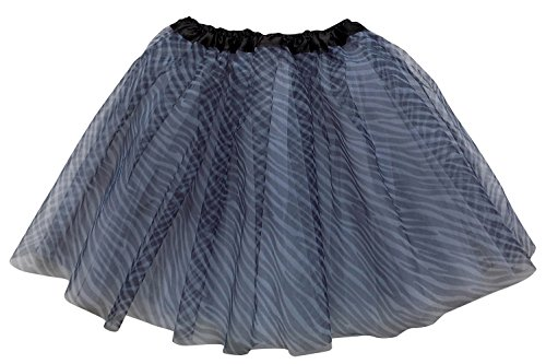 So Sydney Adult Teen 3 Layer Tutu Skirt - Princess Costume Ballet Party Dance Race Outfit (Zebra),One Size -