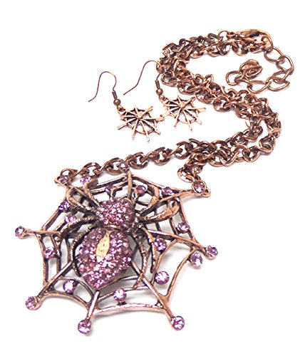 Arras Creations Crystal Stud Spider Web Pendant Long Necklace Earring Set Women / AZFJNS129-CPI-HAL ()