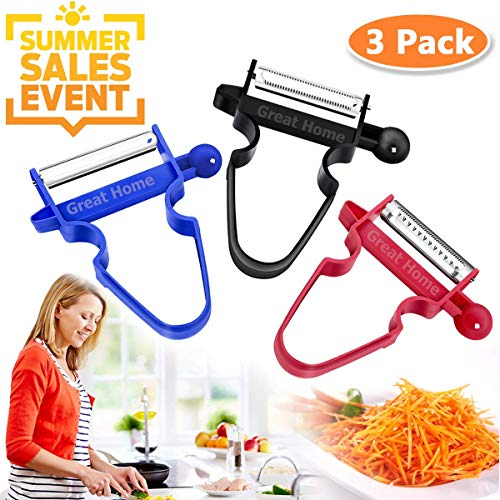 (Magic Trio Peelers Set of 3 New Upgrade Potato Peeler Cabbage Stainless Steel Shredder Slicer Fruit Vegetable Kitchen Starter Kit for Mom by Great Home (Ship From US) Summer Promotion ONLY WEEK)