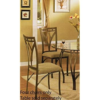 Amazon.com - Set of 4 Dining Chairs - Traditional Bronze Finish ...