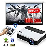 LCD Video Projector Bluetooth Android 6.0, Wxga 3900lumen Multimedia HD 1080P Support HDMI...