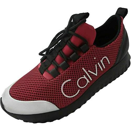 Calvin Klein Jeans 1995 scarpe donna - Sneakers Reika Mesh/Brushed Metal, R0666, (Berry Silver), Bordeaux, Pelle/Tela