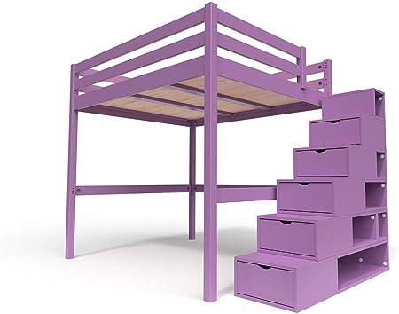 ABC MEUBLES - Cama Alta Sylvia con Escalera Cubo - Cube - Lila, 160x200: Amazon.es: Hogar