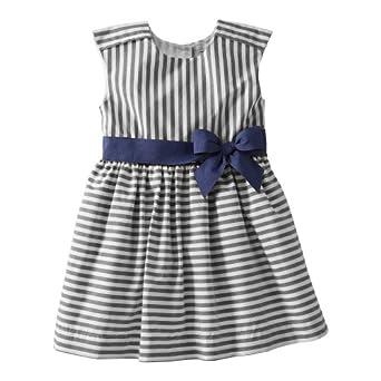 Amazon.com: Carter's Girls Cotton Striped Dress (Youth 6X, Navy ...