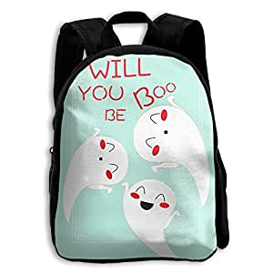 DGYEG44 Cute Will You Be My Boo Ghost Halloween Backpack School Bag Bookbag For Kids Boys Girls Womens